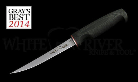 "White River Knife & Tool 6"" Fillet Knife Black Canvas Micarta Handle"