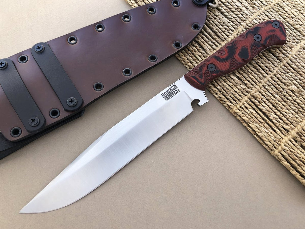 Dawson Knives Border Bowie Fixed Blade Survival Knife CPM-3V Steel Satin Finish Red/Black G-10 Handle