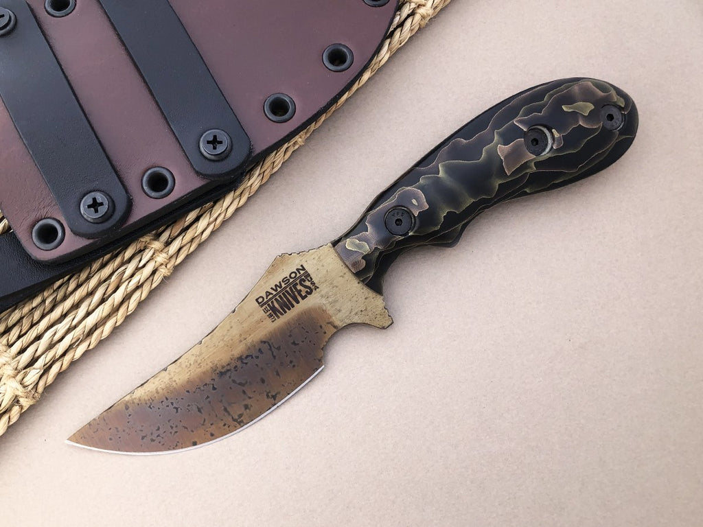 Dawson Knives Forester Fixed Blade Hunting Survival Knife CPM-3V Steel Arizona Copper Finish Raffir Noble Handle
