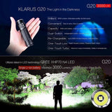 Klarus G20 CREE Next Gen XHP70 N4 LED 3000 Lumens Rechargeable Flashlight