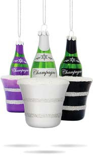 Midnight Champagne Ornaments