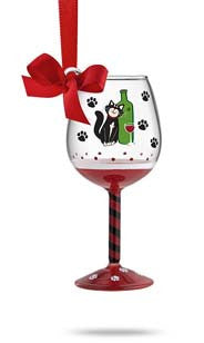 Taste of Purrfection Mini Wine Glass Ornament