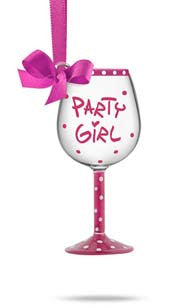 Party Girl! Mini Wine Glass Ornament