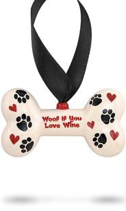 Woof If You Love Wine Ceramic Ornament