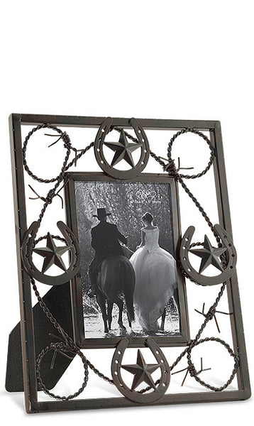 Barbed Wire & Horseshoe Frame