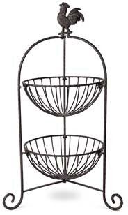 Rooster Top Iron Basket - 2 Tier