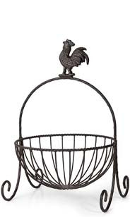 Rooster Top Iron Basket - 1 Tier
