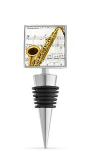 Saxophone Enamel Bottle Stopper