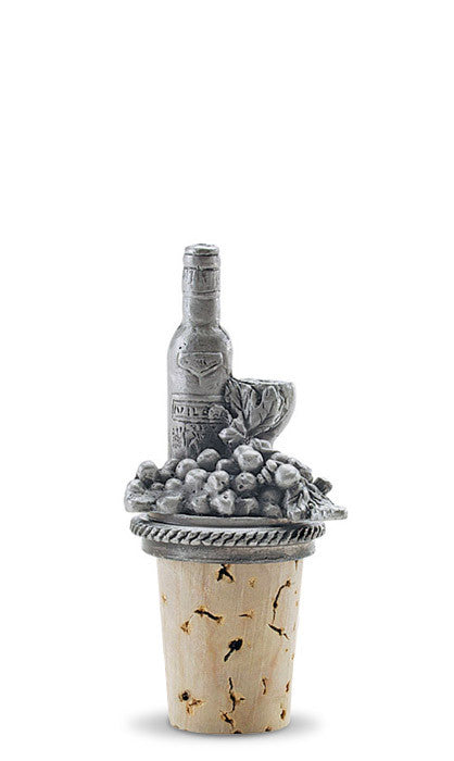 Wine Bottle and Food - Pewter Bottle Stopper