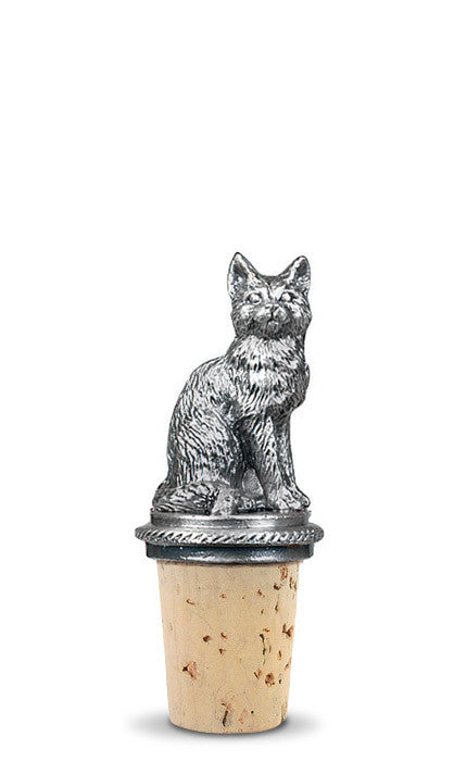 Cat Pewter Bottle Stopper