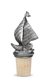 Sailboat - Pewter Bottle Stopper