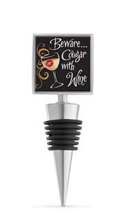 Cougar With Wine Enamel Bottle Stopper