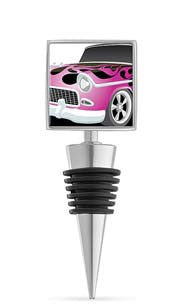Pink Flames Car Enamel Bottle Stopper