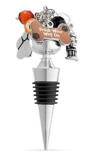 Drink Wine, Wag On Dog Charm Bottle Stopper