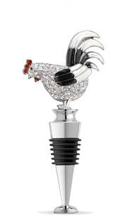 Jeweled Rooster Bottle Stopper - Black and White