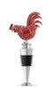 Jeweled Rooster Bottle Stopper - Red