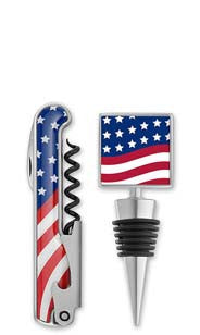 American Spirits Enamel Bottle Stopper & Corkscrew Set