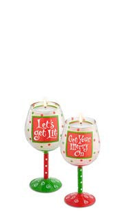 Holiday Merry Hand-Decorated Mini Wine Glass Candle Set