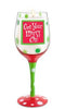 Get Your Merry On Hand-Decorated Wine Glass Candle