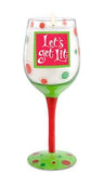 Let's Get Lit Hand-Decorated Wine Glass Candle