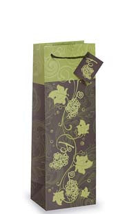 Green Grapevine Bottle Gift Bag