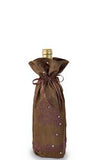 Satin Brown Fabric Bottle Gift Bag