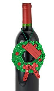Sequin Holly Wreath Bottle Gift Tags