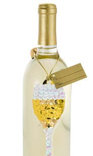 Sequin Wine Glass Bottle Gift Tags
