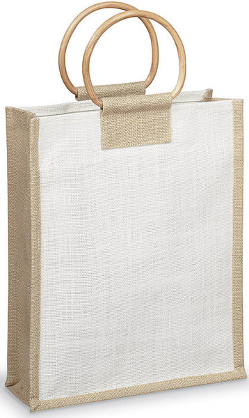 Natural Fiber with Wood Handle - 3 Bottle Carrier