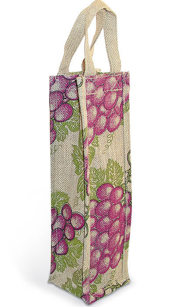 Merlot Grape Jute Bottle Bag - Single Bottle