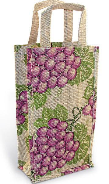 Merlot Grape Jute Bottle Bag - Double Bottle