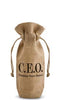 C.E.O. Drawstring Jute Bottle Bag - bottle bag