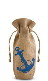 Anchors  Away Drawstring Jute Bottle Bag