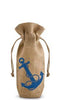 Anchors  Away Drawstring Jute Bottle Bag - bottle bag