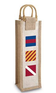 Nautical Flags Jute Bottle Bag