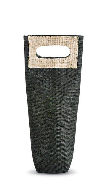 Black & Tan Jute Bottle Bag - bottle bag
