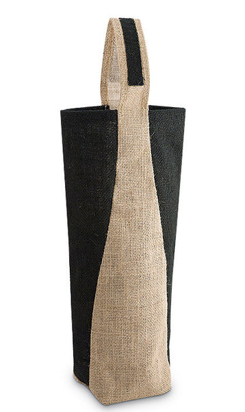 Black & Tan Paneled Jute Bottle Bag