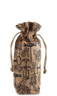 Antique Corkscrews Drawstring Jute Bottle Bag