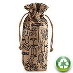 Antique Corkscrews Drawstring Jute Bottle Bag - bottle bag