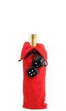 Dice Fabric Bottle Gift Bag - Red