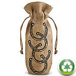 Horseshoes Drawstring Jute Bottle Bag
