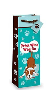 Drink Wine, Wag On Bottle Gift Bag