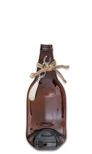 Flat Bottle Cheese Server - Amber