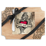 Bless This Wine Wood Cutting Board & Napkin Gift Set