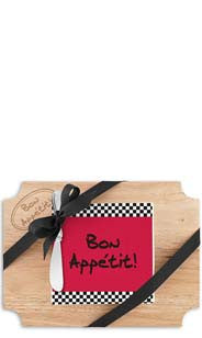 Bon Appétit Wood Cutting Board & Napkin Gift Set