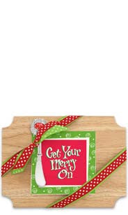 Get Your Merry On Wood Cutting Board & Napkin Gift Set