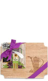 Watering Pail Wood Cutting Board & Napkin Gift Set