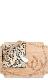 Western Icons Wood Cutting Board & Napkin Gift Set
