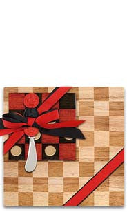 Checkers Wood Cutting Board & Napkin Gift Set