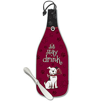 Sit, Stay, Drink Wine Bottle Cheese Server
